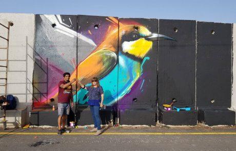 """""""קירות מדברים"""":אמני גראפיטי מציירים על חומת הביטחון במושב שתולה"""